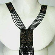 SALE PENDING Jet and Steel Insect Beaded c.1900 French Sautoir Necklace