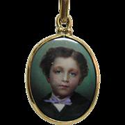 SALE PENDING c. 1900 Miniature Portrait of Young Boy in 14K Pendant Necklace