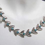 Vintage Sterling Silver Mexico Signed Laurel Wreath Necklace