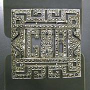 Art Deco/Retro Marcasite Silver Pin - GB Monogram