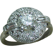 Stunning Vintage Art Deco Style Platinum Diamond Ring