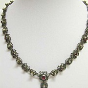 REDUCED 19th c. Austro-Hungarian Renaissance Revival or Berlin-Work Gem-set Necklace