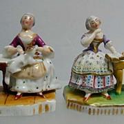 Exquisite 19th c. Pair of MIniature Porcelain Figurines