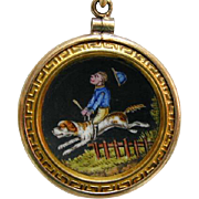 Antique Enamel Hand Painted Monkey Jockey on Dog in 14K Pendant