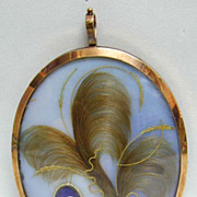 Stunning 18th c. Large 10K gold Frame Mourning Pendant with Hair Scenes