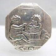 c. 1800 Octagonal Silver Children Scenes Snuff Box