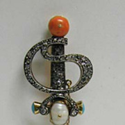 Rare, Exquisite Treasure - Diamond, Coral, 14K Gold Large Sword Pin
