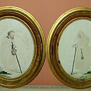 18th c. Framed Watercolor/Pierced Paper Pair - Provenance