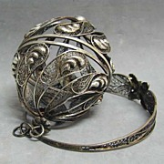 Early Silver Sewing Tool – Filigree Wool Ball Box with Bracelet