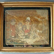 "Antique Georgian Period Framed Tapestry Embroidery On Silk ""Children Dividing Fruit"""