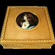 Antique Bronze Dore Limoges Enamel Miniature Portrait Jewellery Box