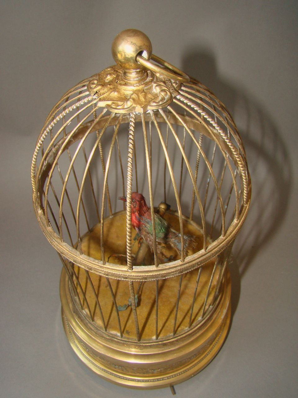 Antique French Singing Mechanical Bird In Cage Bontems