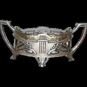 SALE Art Nouveau Junglestil  Silver Cut Glass Centerpiece Bowl