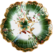 Antique **Christmas Holly** Oyster Plate