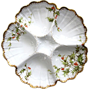 SALE Christmas Antique Oyster Plate ~ T & V