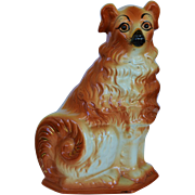 C1890 Antique Staffordshire Collie Dog With Glass Eyes