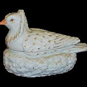 SALE C1860 Antique Staffordshire Pigeon On Nest Tureen