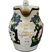 """Pearlware Staffordshire Pitcher With Hunting Dogs ~ """"Edward Jones, Llanfitllin"""" Date"""