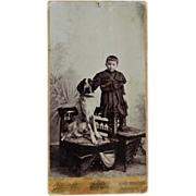 SALE Cabinet Photograph Faithful Dog With Child