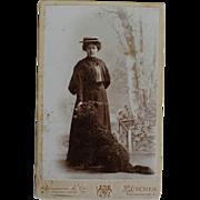 SOLD Antique CDV Photograph ~ Woman & Water Spaniel Dog