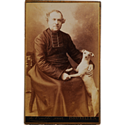 SOLD Antique CDV Photograph ~ Man & His Faithful Dog - Red Tag Sale Item