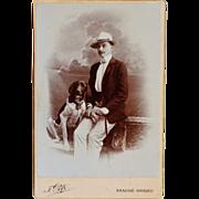 SOLD Antique Cabinet Photograph ~ Handsome Man & Dog