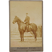 SALE Antique Cabinet Photograph ~ French Officer & Horse