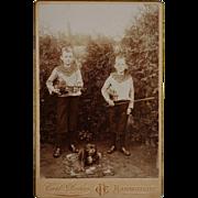 SALE Antique Cabinet Photograph ~ Boys With Violins & Pet Dog