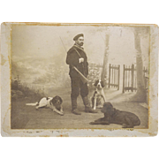 SALE Antique French Cabinet Photograph ~ Hunter With Setter Dogs