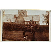 SALE Antique Cabinet Photograph ~ English Gentleman On Horse & Dog Companion