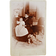 "SALE Antique Cabinet Photograph ~ Family With Dog Named ""Harold"""
