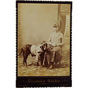 Antique Cabinet Card Photograph ~ Young Girl Dressing Up Her Dog