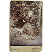 Antique Cabinet Dog Photograph ~ Lovely Girl With Poodle