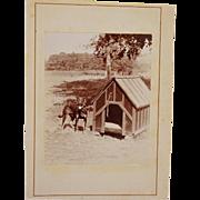 SALE PENDING Antique Cabinet Photograph ~ Dog & His Doghouse