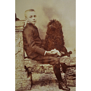 Antique French Dog Cabinet Photograph ~ Boy & His French Poodle