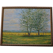 SALE Beautiful Oil Painting ~ Labrador Dog Hunting In A Field Of Mustard
