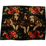Antique Wool Lap/Carriage Blanket ~ Trio Of Dogs