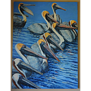 SALE Large Oil Painting ~ Pelican Feeding Frenzy