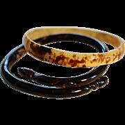 Pair Antique 19C Carved Horn Bracelets
