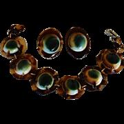 SALE Victorian Operculum Shell Bracelet & Earrings