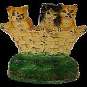 C1932 Rare Cast Iron Cat Doorstop ~ Three Little Kittens