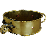 Antique Brass Spiked Dog Collar
