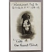 "WW1 Dog Mascot Postcard ~ ""Fritz Our Lizard Hound"" and ""Provisional Inf. Co., G"