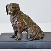 SALE PENDING Antique Bronze Dog Mechanical Paper Clip