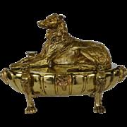 Antique Bronze Figural Inkstand ~ Wolfhound Dog C1856