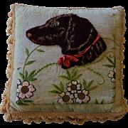 SALE PENDING Antique Stumpwork/Needlework Pillow ~ Labrador Dog