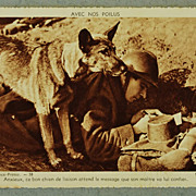 SOLD French WW1 Messenger Dog Postcard - Red Tag Sale Item