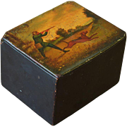 SALE Antique Papier Mache Tea Caddy Box - Hunting Dog