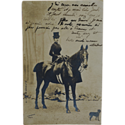 SALE Antique French RPPC Postcard Horse & Dog