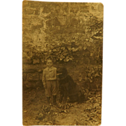 SALE Antique French RPPC Postcard ~ Boy & His Dog